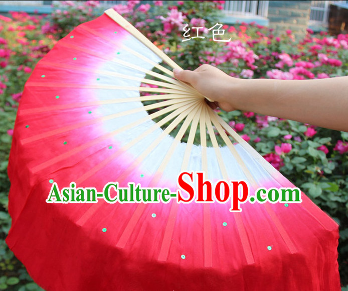 White to Red Color Transition Traditional Chinese Pure Silk Dance Fan