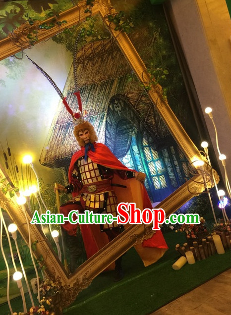 Ancient Chinese Sun Wu Kong Costumes and Hat Complete Set