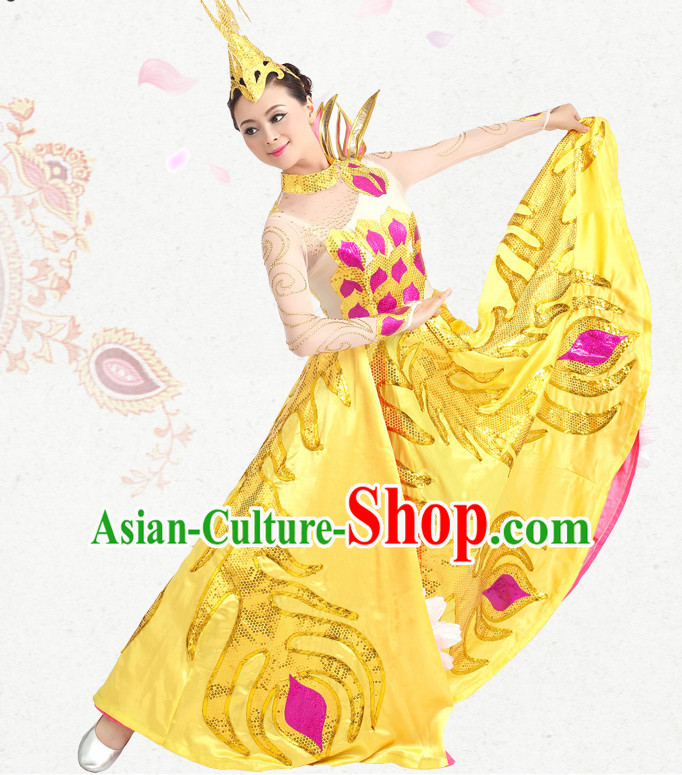 Traditional Chinese Dance Costumes Custom Dance Costume Folk Dance Chinese Dress Cultural Dances and Headdress Complete Set