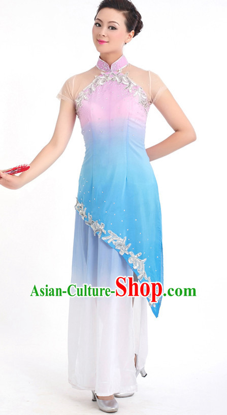 Traditional Chinese Fan Dance Costumes Custom Dance Costume Folk Dance Chinese Dress Cultural Dances and Headdress Complete Set