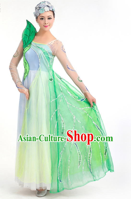 Traditional Chinese Green Leaf Spring Dance Costumes Custom Dance Costume Folk Dance Chinese Dress Cultural Dances and Headdress Complete Set