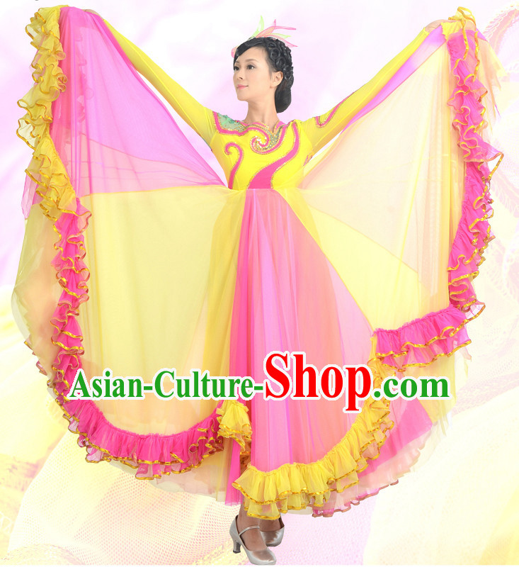 Traditional Chinese Opening Dance Costumes Custom Dance Costume Folk Dancing Chinese Dress Cultural Dances and Headdress Complete Set