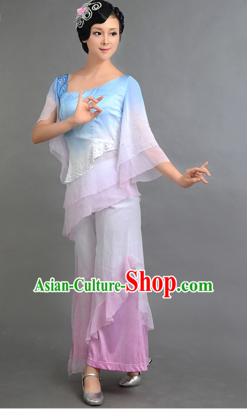 Traditional Chinese Fan Dance Costumes Custom Dance Costume Folk Dancing Chinese Dress Cultural Dances and Headdress Complete Set
