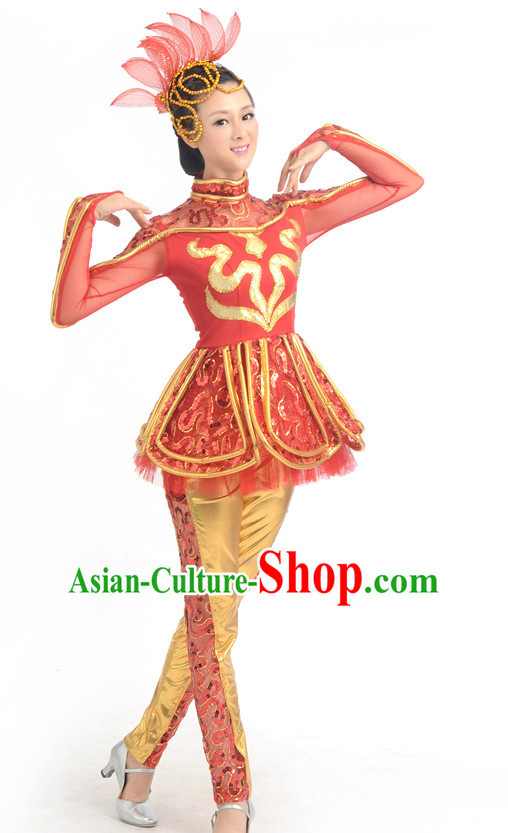 Traditional Chinese Acrobatics Dance Costumes Custom Dance Costume Folk Dancing Chinese Dress Cultural Dances and Headdress Complete Set for Girls Kids Children