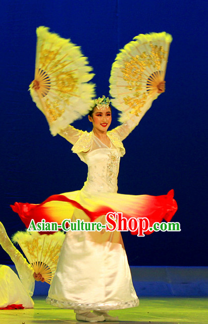 Pure Silk Traditional Hands Painted Chinese Korean Fans Oriental Fan Folk Dance Hand Fan Dance Ribbons Cultural Dances