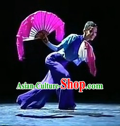 Pure Silk Traditional Chinese Fans Oriental Fan Folk Dance Hand Fan Dance Ribbons Cultural Dances and Handkerchief Set
