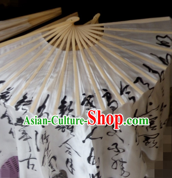 Two Layers Pure Silk Traditional Chinese Calligraphy Fans Oriental Fan Folk Dance Hand Fan Dance Ribbons Cultural Dances
