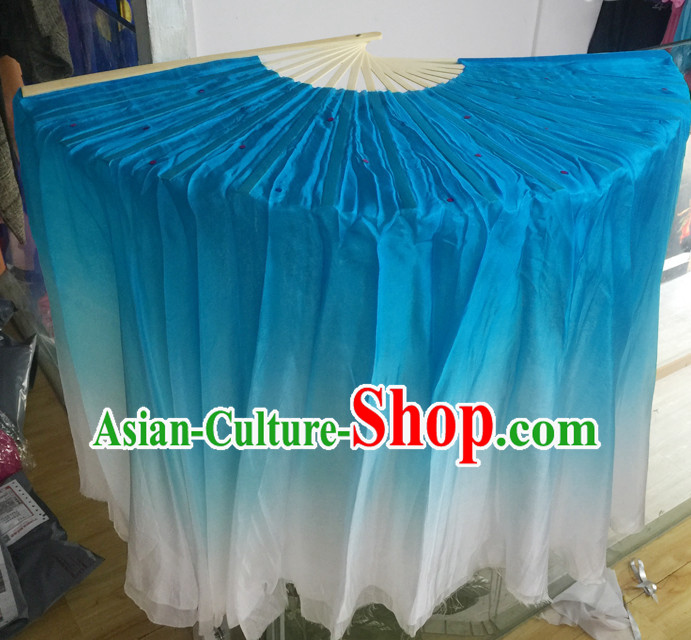 Professional Blue White Traditional Chinese Beijing Dance Academy Color Transition Two Sides Pure Silk Dance Fan