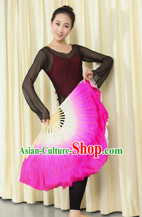 Professional Traditional Color Transition Two Sides Two Colors Pure Silk Dance Fan