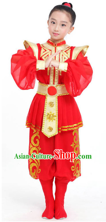 Chinese Competition Dance Costumes Kids Terra Cotta Warrior Solider General Dance Costumes Folk Dances Ethnic Dance Fan Dance Dancing Dancewear