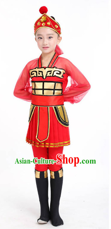 Chinese Competition Dance Costumes Kids Terra Cotta Warrior Solider General Dance Costumes Folk Dances Ethnic Dance Fan Dance Dancing Dancewear for Children