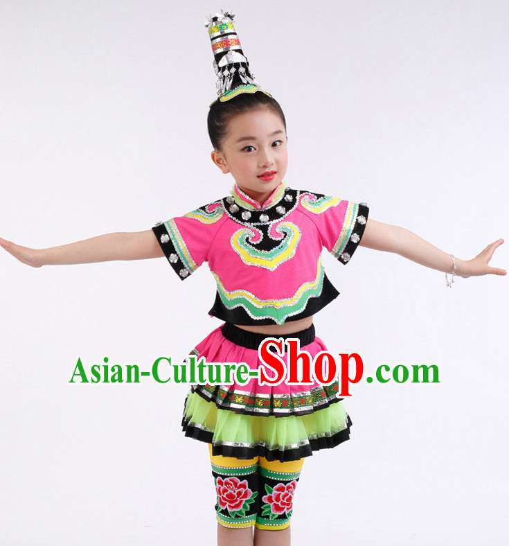 Chinese Competition Festival Dance Costumes Kids Dance Costumes Folk Dances Ethnic Dance Fan Dance Dancing Dancewear for Children