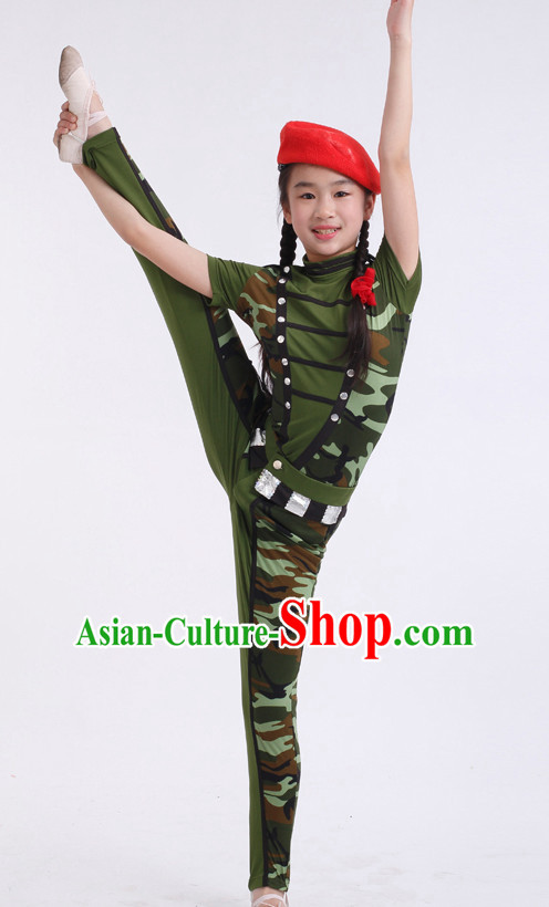 Chinese Competition Solider Dance Costumes Kids Dance Costumes Folk Dances Ethnic Dance Fan Dance Dancing Dancewear for Children