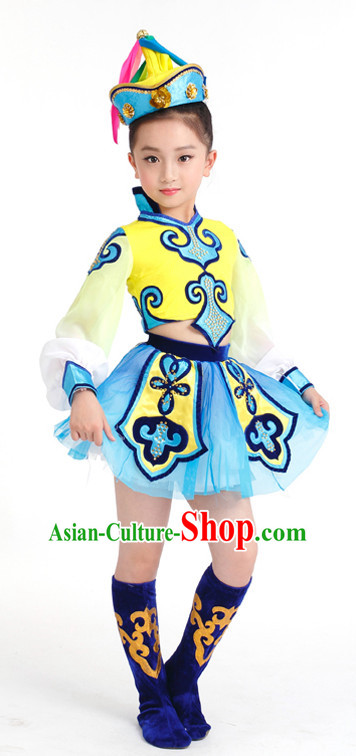 Chinese Competition Mongolian Dance Costumes Kids Dance Costumes Folk Dances Ethnic Dance Fan Dance Dancing Dancewear for Children