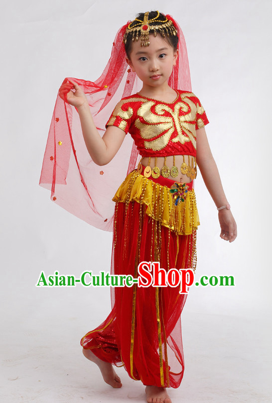 Chinese Competition Indian Dance Costumes Kids Dance Costumes Folk Dances Ethnic Dance Fan Dance Dancing Dancewear for Children