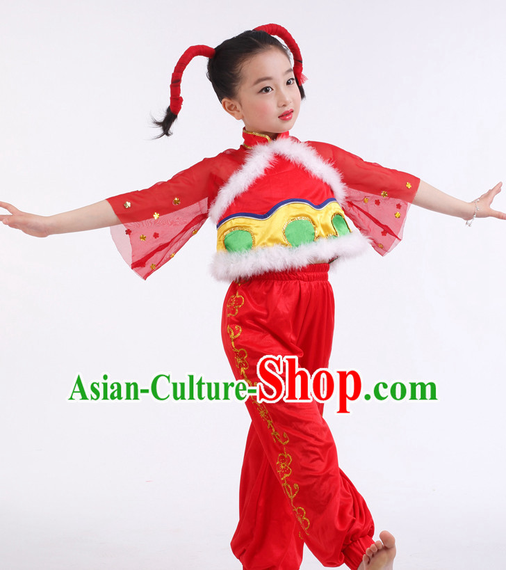 Chinese Competition Han Dance Costumes Kids Dance Costumes Folk Dances Ethnic Dance Fan Dance Dancing Dancewear for Children
