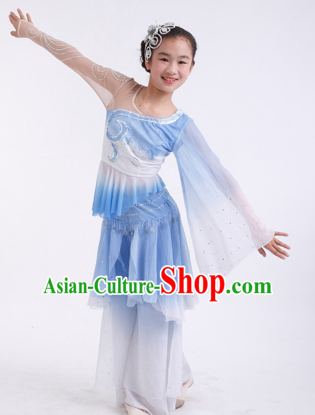 Chinese Competition Classical Dance Costumes Kids Dance Costumes Folk Dances Ethnic Dance Fan Dance Dancing Dancewear for Children