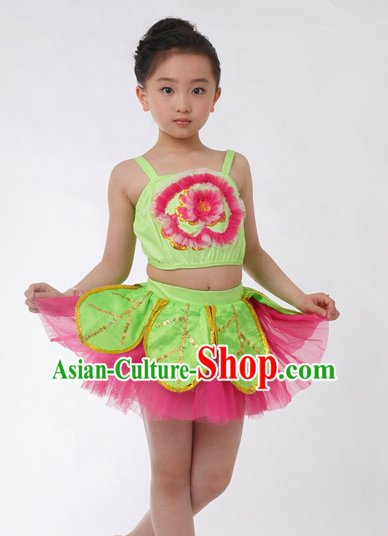 Chinese Competition Flower Dance Costumes Kids Dance Costumes Folk Dances Ethnic Dance Fan Dance Dancing Dancewear for Children
