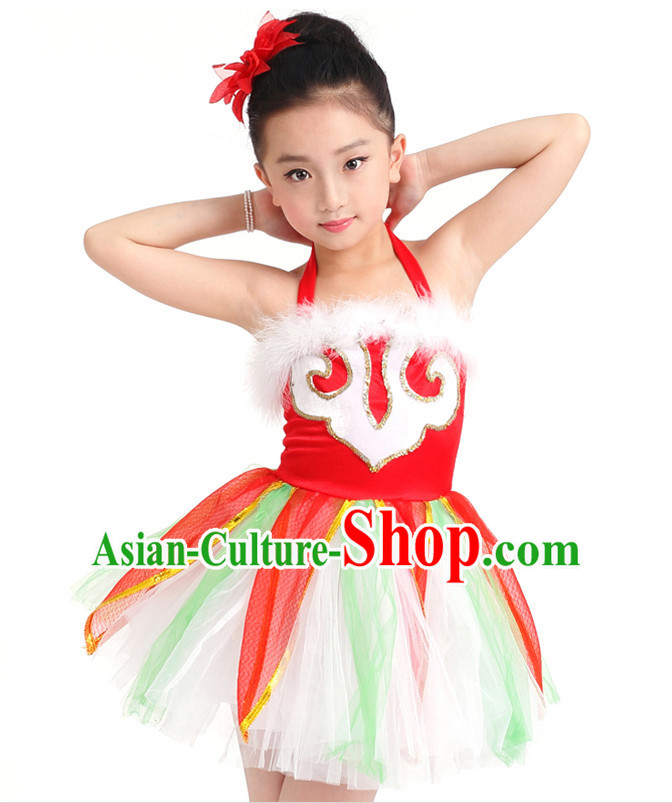 Chinese Competition Stage Team Dance Costumes Kids Dance Costumes Folk Dances Ethnic Dance Fan Dance Dancing Dancewear for Children