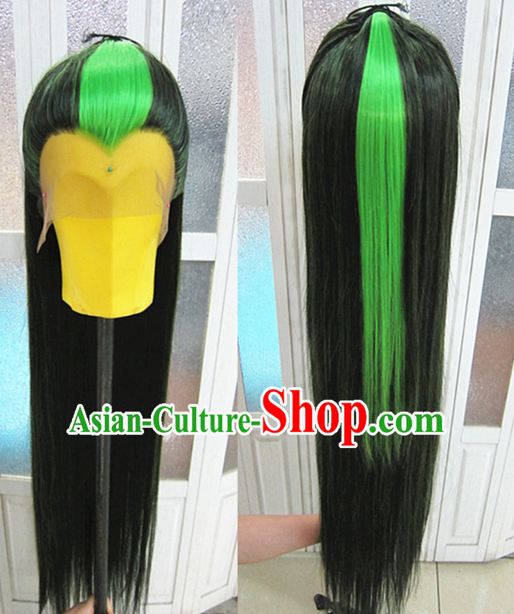 Chinese Traditional Wig Ancient Men Wigs Ladies Wigs Black Green Wigs Male Lace Front Wigs Custom Hair Pieces