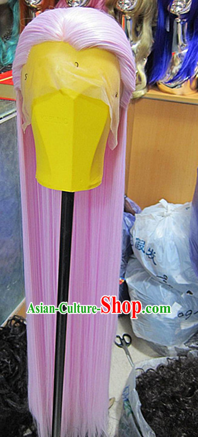 Chinese Traditional Swordsmen Wig Ancient Men Wigs Ladies Wigs Light Purple Wigs Male Lace Front Wigs Custom Hair Pieces