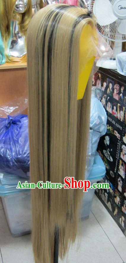 White Chinese Traditional Scholar Swordsmen Wig Ancient Knight Men Wigs Ladies Wigs Male Lace Front Wigs Custom Hair Pieces