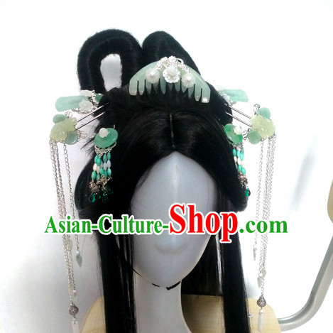Traditional Chinese Princess Long Black Wigs and Hairpieces Headpieces Hair Jewelry Set