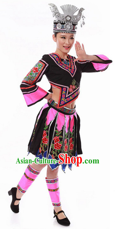 Ancient Chinese Folk Dance Costume and Hat for Ladies
