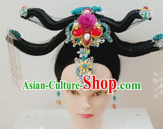 Ancient Chinese Fairy Beauty Long Black Wigs and Hair Jewelry Hairpieces