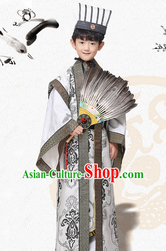 Asian Chinese Zhuge Liang Long Dresses Hanfu Costume Clothing Chinese Robe Chinese Kimono and Hat Complete Set for Boys