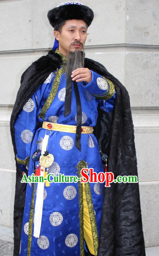 Asian Chinese Emperor Long Dresses Hanfu Costume Clothing Chinese Robe Chinese Kimono Mantle and Hat Complete Set for Men