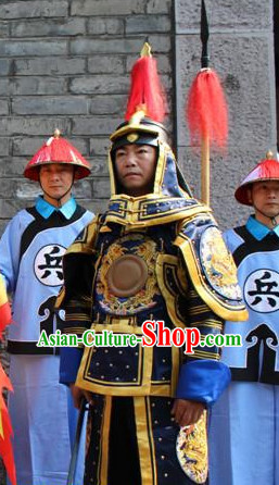 Asian Chinese Qing Dynasty General Long Dresses Hanfu Costume Clothing Chinese Robe Chinese Kimono and Crown Complete Set for Men
