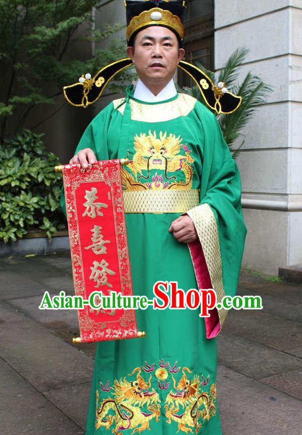 Asian Chinese Legend Lu Shen Long Dresses Hanfu Costume Clothing Chinese Robe Chinese Kimono and Hat Complete Set for Men