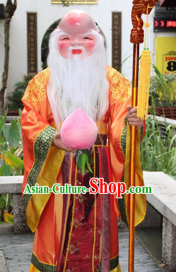 Asian Chinese Legend Shou Xing Longevity Long Dresses Hanfu Costume Clothing Chinese Robe Chinese Kimono and Hat Complete Set for Men