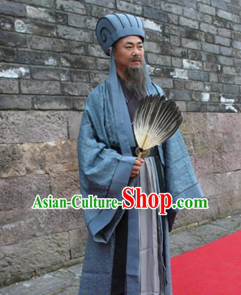 Asian Chinese Zhuge Liang Three Kingdoms Long Dresses Hanfu Costume Clothing Chinese Robe Chinese Kimono and Hat Complete Set for Men