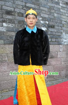Asian Chinese Emperor Long Dresses Hanfu Costume Clothing Chinese Robe Chinese Kimono and Hat Complete Set for Men