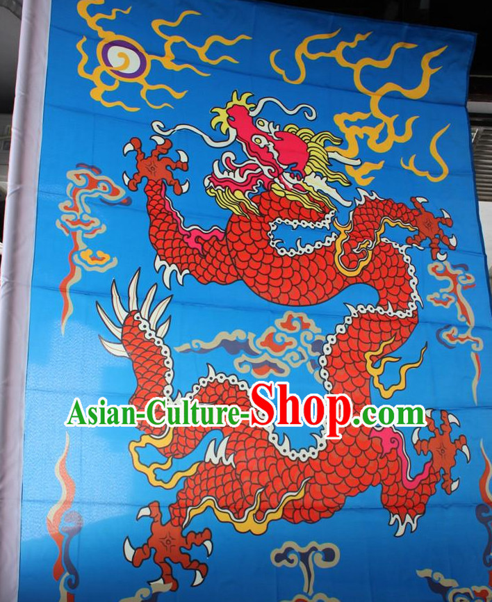 Big Asian Chinese Folk Dragon Flags Banners