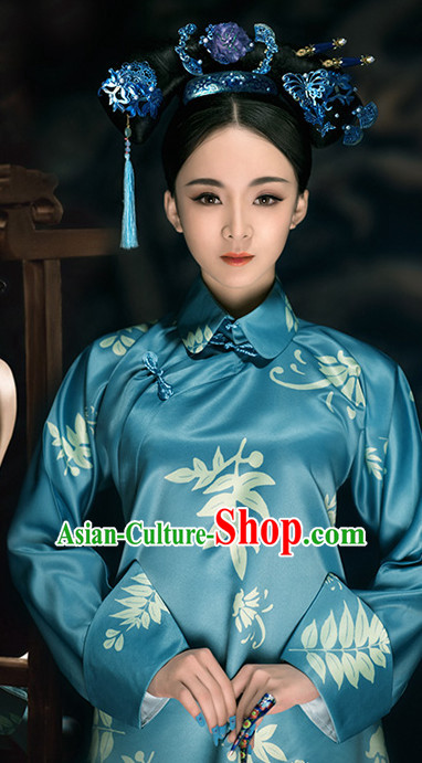 Asian Chinese Mandarin Lady Hanfu Dress Costume Clothing Oriental Dress Chinese Robes Kimono and Hair Accessories Complete Set for Women Girls Adults Children