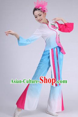 Asian Chinese Fan Dance Costume Clothing Oriental Dress and Hair Accessories Complete Set for Women Girls Adults Children