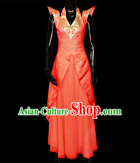 Chinese Mongolian People Yuan Dynasty Mongolians Dance Costumes Queen Princess Empress Clothing Clothes Garment Complete Set for Women Girls
