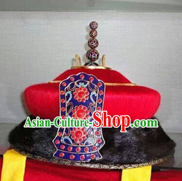 Ancient Asian Chinese Headdress Oriental Headwear Emperor Hat for Men Boys