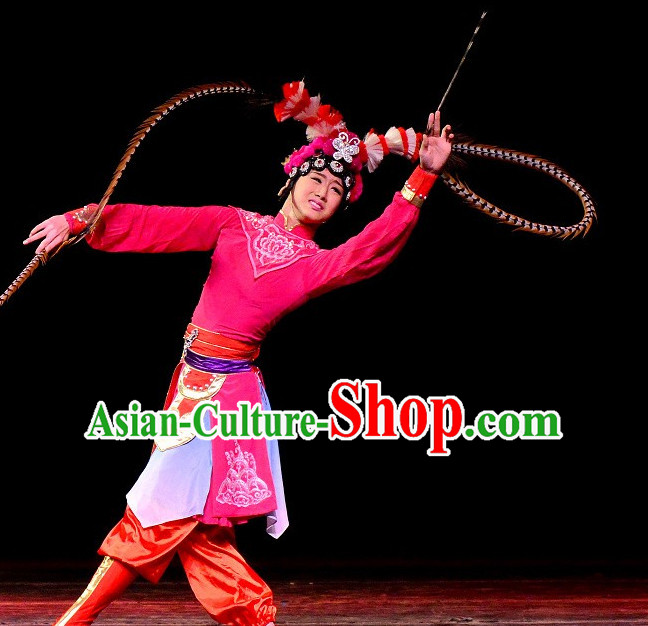 Chinese Classical Beijing Opera Hua Dan Headpieces Headwear with Long Feathers