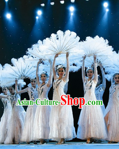 Top Qualiity Beautiful White Feather Professional Dance Fan