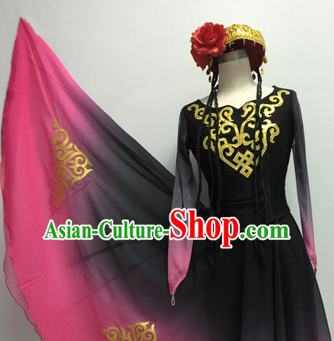Chinese Traditional Xinjiang Dance Costumes and Headdress Complete Set for Women or Gilrs