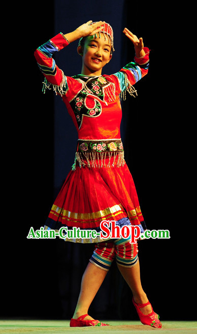 Chinese Traditional Folk Xinjiang Dance Costumes and Headdress Complete Set for Women or Gilrs