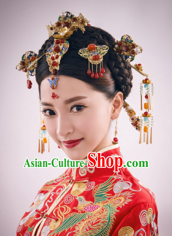 Classical Chinese Handmade Wedding Hair Accessories Fascinators Hair Sticks Hairpins Hair Bows Hair Pieces Bridal Hair Clips