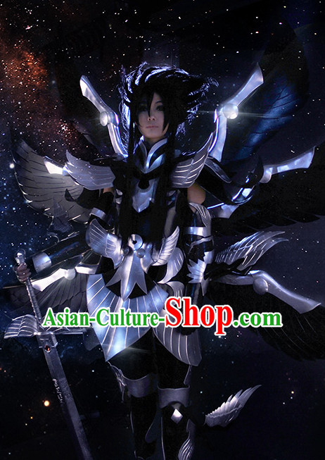 Chinese Superhero Armor Cosplay Costumes Accessories and Hat Complete Set for Men and Adults