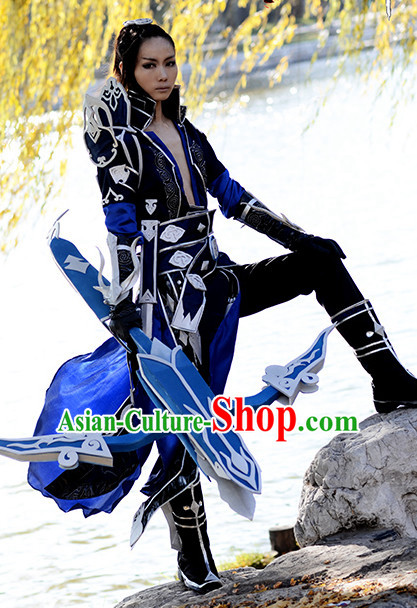 Chinese Superhero Armor Cosplay Costumes Accessories and Hair Accessories Complete Set for Men and Adults