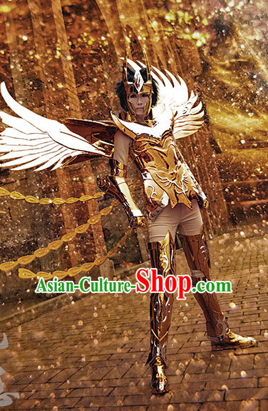 Chinese Superhero Cosplay Armor Costumes and Hat Complete Set for Men