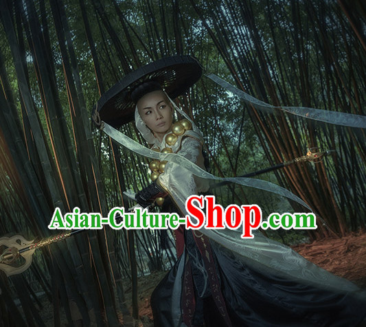 Chinese Monk Cosplay Costumes Accessories and Hat Complete Set for Men